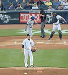 Munenori Kawasaki (Blue Jays), Masahiro Tanaka (Yankees),<br /> JUNE 17, 2014 - MLB : Japan's pitcher Masahiro Tanaka of the New York Yankees stands on the mound as Japan's infielder Munenori Kawasaki of the Toronto Blue Jays at bat in the 2nd inning during the Major League Baseball game at Yankee Stadium in the Bronx, NY, USA. Munenori Kawasaki called out on strikes.<br /> (Photo by AFLO)