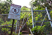 "Closed entrance to the Haiku Stairs (""Stairway to Heaven"") hiking trail in Kaneohe, O'ahu"