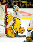 29 January 2010: University of Vermont Catamount goaltender Rob Madore, a Sophomore from Venetia, PA, in action during the first period against the University of Maine Black Bears at Gutterson Fieldhouse in Burlington, Vermont. The Black Bears defeated the Catamounts 6-3 in the first game of their America East weekend series. Mandatory Credit: Ed Wolfstein Photo