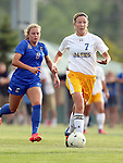 BROOKINGS, SD - AUGUST 22: Diana Potterveld #7 from South Dakota State pushes the ball past McKynzie Dickman #8 from Creighton in the first half of their game Friday night in Brookings. (Photo by Dave Eggen/Inertia)