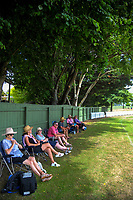 Fans watch the Secondary School Boys' First XI Cup national cricket finals match between Tauranga Boys' College and Hutt International Boys' School at Fitzherbert Park in Palmerston North, New Zealand on Friday, 8 December 2017. Photo: Dave Lintott / lintottphoto.co.nz