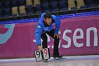 SCHAATSEN: HEERENVEEN: 20-12-2013, IJsstadion Thialf, KKT Trainingswedstrijd, Gianni Romme (trainer/coach) Team LiGA), ©foto Martin de Jong