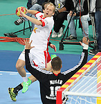 12.01.2013 Barcelona, Spain. IHF men's world championship, Quarter-Final. Picture show Anders Eggert    in action during game between Denmark vs Hungary at Palau ST Jordi