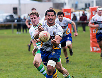Tanerau Latimer passes during the Manawatu v Bay Of Plenty spell of the Game of Three Halves pre-season rugby match at Taihape Domain in Taihape, New Zealand on Friday, 27 July 2018. Photo: Dave Lintott / lintottphoto.co.nz