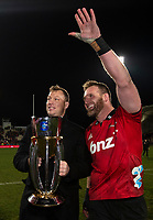 Wyatt Crockett and Kieran Read of the Crusaders with the trophy  following the 2018 Super Rugby final between the Crusaders and Lions at AMI Stadium in Christchurch, New Zealand on Sunday, 29 July 2018. Photo: Joe Johnson / lintottphoto.co.nz