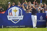 Phil Mickelson (Team USA) on the 5th tee during the Friday Foursomes at the Ryder Cup, Le Golf National, Ile-de-France, France. 28/09/2018.<br /> Picture Thos Caffrey / Golffile.ie<br /> <br /> All photo usage must carry mandatory copyright credit (&copy; Golffile | Thos Caffrey)