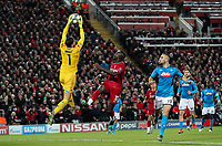 Napoli's Alex Meret claims a high ball under pressure from Liverpool's Sadio Mane<br /> <br /> Photographer Alex Dodd/CameraSport<br /> <br /> UEFA Champions League Group E - Liverpool v Napoli - Wednesday 27th November 2019 - Anfield - Liverpool<br />  <br /> World Copyright © 2018 CameraSport. All rights reserved. 43 Linden Ave. Countesthorpe. Leicester. England. LE8 5PG - Tel: +44 (0) 116 277 4147 - admin@camerasport.com - www.camerasport.com