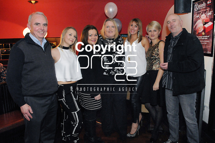30/1/2015  Attending the 100 Miles Charity Race Night at Russells Bar, Raheen, were Malachy McCreesh, Ciara Greaney, Denise O' Brien, Grainne O' Shea, Katherine Donnellan, Dominika Piewiszkis and Kevin Guerin, Brothers of Charity.<br /> Pic: Gareth Williams / Press 22