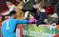 Blackpool's Mark Howard greets the travelling fans at the final whistle<br /> <br /> Photographer David Shipman/CameraSport<br /> <br /> The EFL Sky Bet League One - Charlton Athletic v Blackpool - Saturday 16th February 2019 - The Valley - London<br /> <br /> World Copyright © 2019 CameraSport. All rights reserved. 43 Linden Ave. Countesthorpe. Leicester. England. LE8 5PG - Tel: +44 (0) 116 277 4147 - admin@camerasport.com - www.camerasport.com
