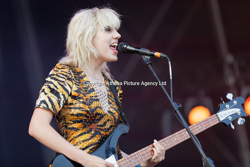 Pictured: Julia Cumming of support act Sunflower Bean. Saturday 29 June 2019<br /> Re: Manic Street Preachers concert at Cardiff Castle, south Wales, UK.