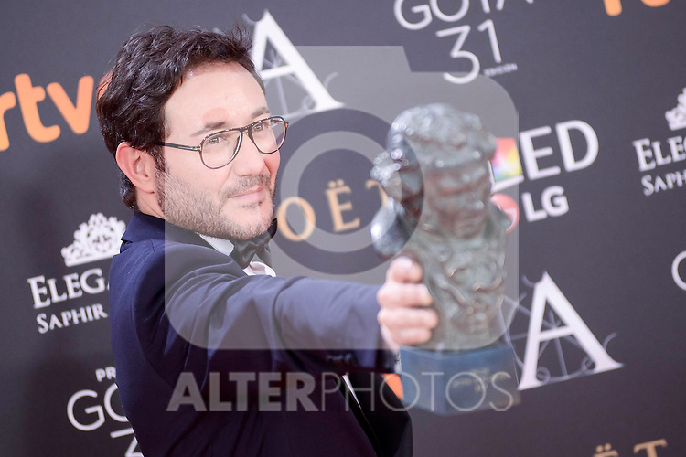 Carlos Santos pose to the media with the Goya award at Madrid Marriott Auditorium Hotel in Madrid, Spain. February 04, 2017. (ALTERPHOTOS/BorjaB.Hojas)