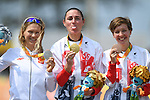 (L-R) Anna Harkowska (POL), Sarah Storey (GBR), Crystal Lane (GBR), <br /> SEPTEMBER 17, 2016 - Cycling - Road : <br /> Women's Road Race C4-5 Medal Ceremony <br /> at Pontal <br /> during the Rio 2016 Paralympic Games in Rio de Janeiro, Brazil.<br /> (Photo by AFLO SPORT)