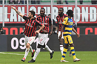 esultanza gol Patrick Cutrone. Goal celebration <br /> Milano 2-12-2018 Stadio San Siro Football Calcio Serie A 2018/2019 AC Milan - Parma Foto Image Sport / Insidefoto
