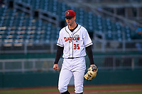 Lansing Lugnuts starting pitcher Fitz Stadler (35) walks off the field between innings of a Midwest League game against the Wisconsin Timber Rattlers at Cooley Law School Stadium on May 1, 2019 in Lansing, Michigan. Wisconsin defeated Lansing 2-1 in the second game of a doubleheader. (Zachary Lucy/Four Seam Images)