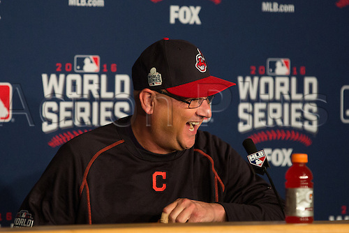02.11.2016. Cleveland, OH, USA.  Cleveland Indians manager Terry Francona (17) talks with the media prior to  game 7 of the 2016 World Series against the Chicago Cubs and the Cleveland Indians at Progressive Field in Cleveland, OH.
