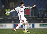 Football Soccer: Tim Cup semi-final second Leg, SS Lazio vs AC Milan, Stadio Olimpico, Rome, Italy, February 28, 2018.<br /> Milan's Riccardo Montolivo kicks a wrong penalty during the shootout of the Tim Cup semi-final football match between SS Lazio vs AC Milan, at Rome's Olympic stadium, February 28, 2018.<br /> UPDATE IMAGES PRESS/Isabella Bonotto