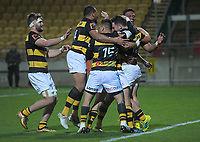 Taranaki players celebrate Dan Waite's try during the Ranfurly Shield Mitre 10 Cup rugby match between Taranaki and Manawatu at Yarrow Stadium in New Plymouth, New Zealand on Friday, 24 August 2018. Photo: Dave Lintott / lintottphoto.co.nz