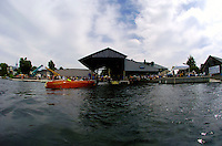 The Antique Boat Museum as seen from the water.