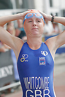 06 AUG 2006 - LONDON, UK - Andrea Whitcombe warms up for the start of the Elite race at the London Triathlon. (PHOTO (C) NIGEL FARROW)
