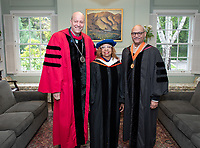 Jonathan Veitch, President; Lula Bailey Ballton, CEO Emeritus, West Angeles Community Development Corporation; Carl Ballton '69, Trustee.<br /> Families, friends, faculty, staff and distinguished guests celebrate the class of 2019 during Occidental College's 137th Commencement ceremony on Sunday, May 19, 2019 in the Remsen Bird Hillside Theater.<br /> (Photo by Marc Campos, Occidental College Photographer)