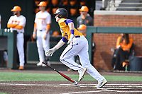 Western Illinois Tyler Estes (20) runs to first base during a game against the University of Tennessee at Lindsey Nelson Stadium on February 15, 2020 in Knoxville, Tennessee. The Volunteers defeated Leathernecks 19-0. (Tony Farlow/Four Seam Images)