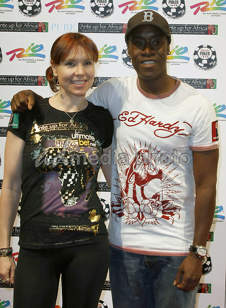 "2 July 2008 - Las Vegas, Nevada - Annie Duke and Don Cheadle. Annie Duke and Don Cheadle host the 2nd Annual ""Ante Up For Africa"" Celebrity Poker Tournament during the 2008 World Series of Poker held at the Rio All-Suite Hotel and Casino. Photo Credit: MJT/AdMedia"