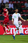 Mohammed Al Fatil of Saudi Arabia (R) competes for the ball with Han Kwang Song of North Korea (L) during the AFC Asian Cup UAE 2019 Group C match between Saudi Arabia (KSA) and North Korea (PRK) at Rashid Stadium on 08 January 2019 in Dubai, United Arab Emirates. Photo by Marcio Rodrigo Machado / Power Sport Images