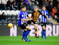 Hull City's Jarrod Bowen under pressure from Sheffield Wednesday's Sam Hutchinson<br /> <br /> Photographer Chris Vaughan/CameraSport<br /> <br /> The EFL Sky Bet Championship - Hull City v Sheffield Wednesday - Saturday 12th January 2019 - KCOM Stadium - Hull<br /> <br /> World Copyright © 2019 CameraSport. All rights reserved. 43 Linden Ave. Countesthorpe. Leicester. England. LE8 5PG - Tel: +44 (0) 116 277 4147 - admin@camerasport.com - www.camerasport.com