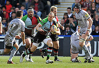 Twickenham, England. Mike Brown of Harlequins in action during the Aviva Premiership game between Harlequins and Leicester Tigers at Twickenham Stoop, London, England. 21 April 2012.