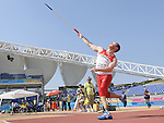 November 17 2011 - Guadalajara, Mexico:  Alister McQueen competing in the Men's Javelin - F44 Final in the Telmex Athletic's Stadium at the 2011 Parapan American Games in Guadalajara, Mexico.  Photos: Matthew Murnaghan/Canadian Paralympic Committee