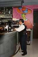 Waiter standing at the bar in  in El Park Bisitro, Mansion Merida hotel, Merida, Yucatan, Mexico......