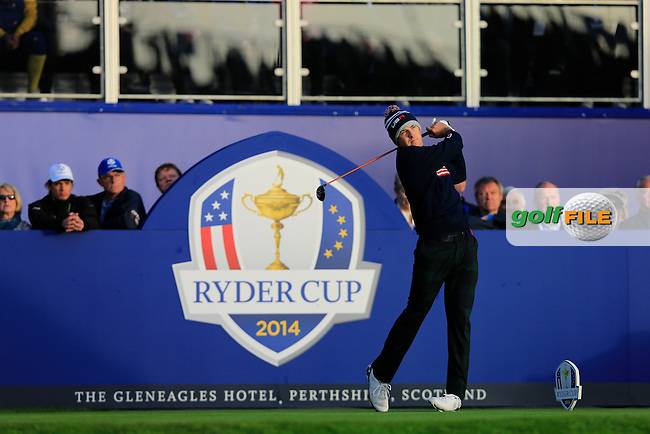 Jordan Spieth (USA) during the Saturday morning Fourballs of the 2014 Ryder Cup at Gleneagles. The 40th Ryder Cup is being played over the PGA Centenary Course at The Gleneagles Hotel, Perthshire from 26th to 28th September 2014.: Picture Thos Caffrey, www.golffile.ie: \27/09/2014\