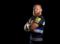 Ross Batty poses for a portrait in the 2015/16 home kit during a Bath Rugby photocall on September 8, 2015 at Farleigh House in Bath, England. Photo by: Patrick Khachfe / Onside Images