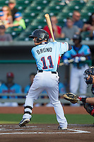 Stephen Bruno (11) of the Tennessee Smokies at bat against the Mississippi Braves at Smokies Park on July 22, 2014 in Kodak, Tennessee.  The Smokies defeated the Braves 8-7 in 10 innings. (Brian Westerholt/Four Seam Images)