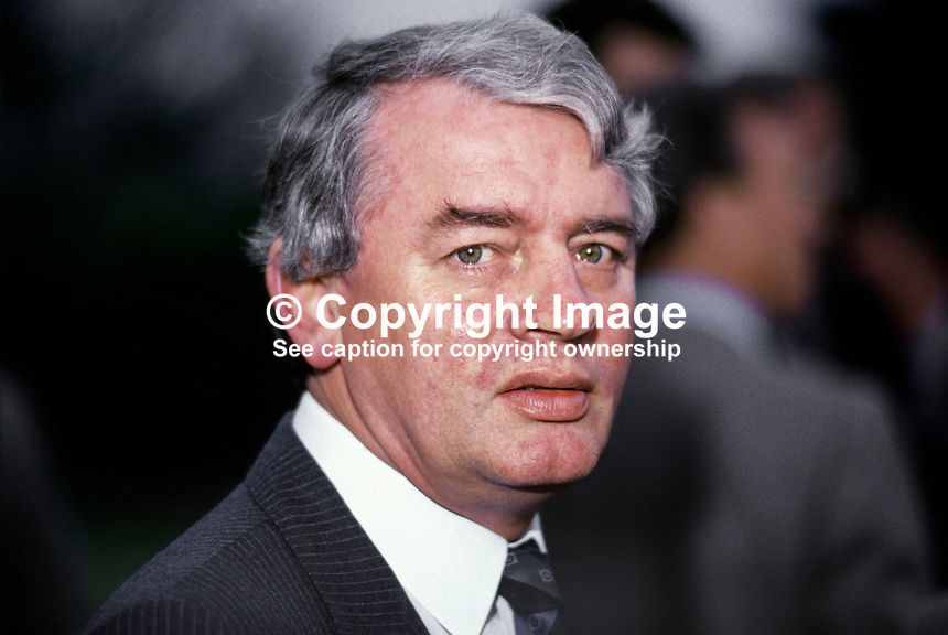 Austin Currie, founder member of the SDLP, Social Democratic &amp; Labour Party, N Ireland, UK, 19880502AC.<br /> <br /> Copyright Image from Victor Patterson,<br /> 54 Dorchester Park, <br /> Belfast, UK, BT9 6RJ<br /> <br /> t1: +44 28 9066 1296 (from Rep of Ireland 048 9066 1296)<br /> t2: +44 28 9002 2446 (from Rep of Ireland 048 9002 2446)<br /> <br /> m: +44 7802 353836<br /> <br /> e: victorpatterson@me.com<br /> www.victorpatterson.com<br /> <br /> Please see my Terms and Conditions of Use at www.victorpatterson.com. It is IMPORTANT that you familiarise yourself with them.<br /> <br /> Images used on the Internet must be visibly watermarked i.e. &copy; Victor Patterson<br /> within the body of the image and copyright metadata must not be deleted. Images <br /> used on the Internet have a size restriction of 4kbs and will be chargeable at current<br />  NUJ rates unless agreed otherwise.<br /> <br /> This image is only available for the use of the download recipient i.e. television station, newspaper, magazine, book publisher, etc, and must not be passed on to any third <br /> party. It is also downloaded on condition that each and every usage is notified within 7 days to victorpatterson@me.com<br /> <br /> The right of Victor Patterson to be identified as the author is asserted in accordance with The Copyright Designs And Patents Act (1988). All moral rights are asserted.