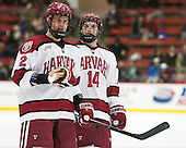Tyler Moy (Harvard - 2), Alexander Kerfoot (Harvard - 14) - The Harvard University Crimson defeated the visiting Princeton University Tigers 5-0 on Harvard's senior night on Saturday, February 28, 2015, at Bright-Landry Hockey Center in Boston, Massachusetts.
