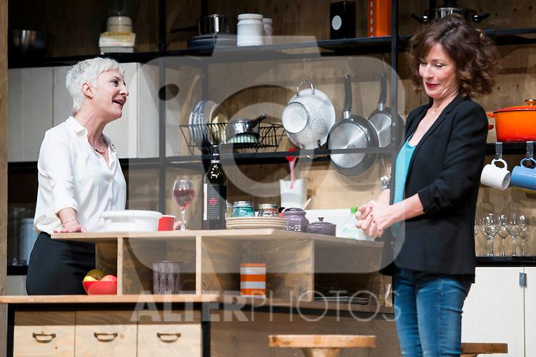 Eva Hache and Maria Lanau during theater play of &quot;Los vecinos de arriba&quot; at Teatro Circulo de Bellas Artes in Madrid, April 25, 2017. Spain.<br /> (ALTERPHOTOS/BorjaB.Hojas)