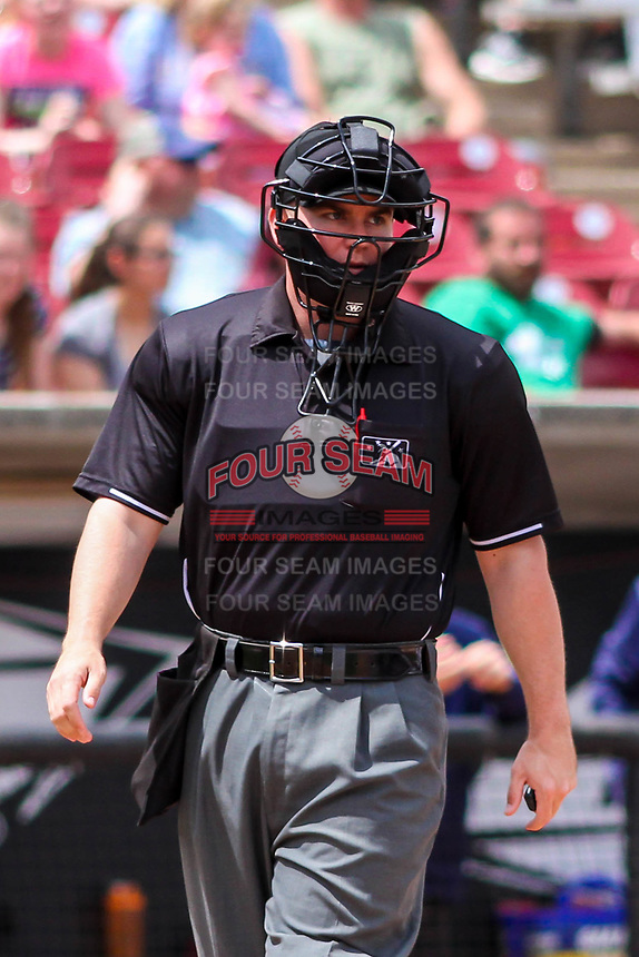 Home plate umpire Kyle Nichol during a Midwest League game between the Wisconsin Timber Rattlers and the Burlington Bees on May 19, 2018 at Fox Cities Stadium in Appleton, Wisconsin. Wisconsin defeated Burlington 1-0. (Brad Krause/Four Seam Images)