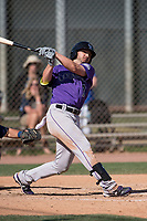 Colorado Rockies center fielder Forrest Wall (7) during a Minor League Spring Training game against the Milwaukee Brewers at Salt River Fields at Talking Stick on March 17, 2018 in Scottsdale, Arizona. (Zachary Lucy/Four Seam Images)