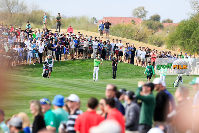 Justin Thomas (USA) on the 8th fairway during the 3rd round of the Waste Management Phoenix Open, TPC Scottsdale, Scottsdale, Arisona, USA. 02/02/2019.<br /> Picture Fran Caffrey / Golffile.ie<br /> <br /> All photo usage must carry mandatory copyright credit (© Golffile | Fran Caffrey)