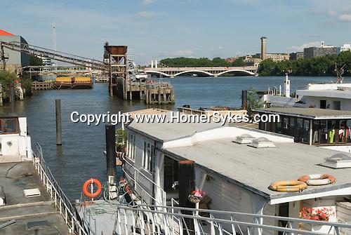 Nine Elms Wharf and Pier Battersea London Houseboat community living on River Thames London UK