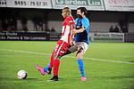 2015-10-31 / Voetbal / seizoen 2015-2016 / Hoogstraten VV - Tempo Overijse / Hamid Bouyfoulkitne (HVV) met Kevin Taelemans in de rug<br /><br />Foto: Mpics.be