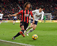 Tottenham Hotspur's Son Heung-Min (right) vies for possession with Bournemouth's Nathan Ake (left) <br /> <br /> Bournemouth 1 - 4 Tottenham Hotspur<br /> <br /> Photographer David Horton/CameraSport<br /> <br /> The Premier League - Bournemouth v Tottenham Hotspur - Sunday 11th March 2018 - Vitality Stadium - Bournemouth<br /> <br /> World Copyright &copy; 2018 CameraSport. All rights reserved. 43 Linden Ave. Countesthorpe. Leicester. England. LE8 5PG - Tel: +44 (0) 116 277 4147 - admin@camerasport.com - www.camerasport.com
