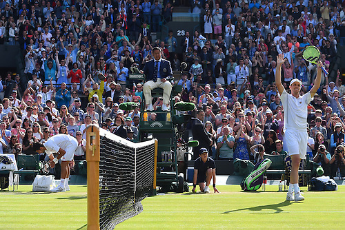02.07.2016. All England Lawn Tennis and Croquet Club, London, England. The Wimbledon Tennis Championships Day Six.  Novak Djokovic (Ser) loses to Sam Querrey (USA)