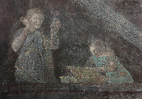 Fresco of a woman on a balcony with a maidservant, from the frigidarium or cold pool of the bathhouse of the Casa del Criptoportico, or House of the Cryptoporticus, Pompeii, Italy. This room is decorated in the Second Style of Pompeiian wall painting, 1st century BC. The house is one of the largest in Pompeii and was owned by the Valerii Rufi family and built in the 3rd century BC. It takes its name from the underground corridor used as a wine cellar and lit by small windows. Pompeii is a Roman town which was destroyed and buried under 4-6 m of volcanic ash in the eruption of Mount Vesuvius in 79 AD. Buildings and artefacts were preserved in the ash and have been excavated and restored. Pompeii is listed as a UNESCO World Heritage Site. Picture by Manuel Cohen