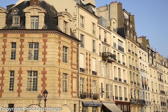 Facades on the Ile de la Cite Island, Paris, France