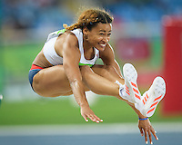Team GB Jazmin Sawyers jumps for the long jump final in the Rio2016 Olympics. <br /> Rio de Janeiro, Brazil on August 17, 2016.<br /> CAP/CAM<br /> &copy;Andre Camara/Capital Pictures /MediaPunch ***NORTH AMERICAS ONLY***