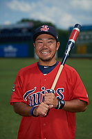 Elizabethton Twins coach Takashi Miyoshi (4) poses for a photo before a game against the Bristol Pirates on July 29, 2018 at Joe O'Brien Field in Elizabethton, Tennessee.  Bristol defeated Elizabethton 7-4.  (Mike Janes/Four Seam Images)