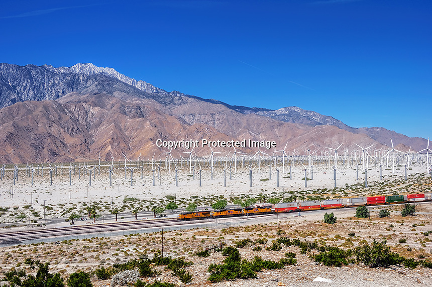 The view of a wind farm in the Coachella Valley, CA.