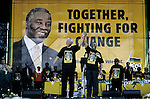 SOWETO, SOUTH AFRICA FEBRUARY 28: President Nelson Mandela holds the hand of deputy president Thabo Mbeki during the start of the election campaign on February 28, 1999 in Soweto, South Africa. About 100.000 people attended the rally, and it was President Mandela's last election campaign. Mandela retired after one term in 1999 and gave the leadership to the current president Mr. Thabo Mbeki. (Photo by Per-Anders Pettersson)